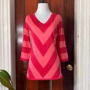 Gap pink red stripe wool blend 3/4 sleeve sweater